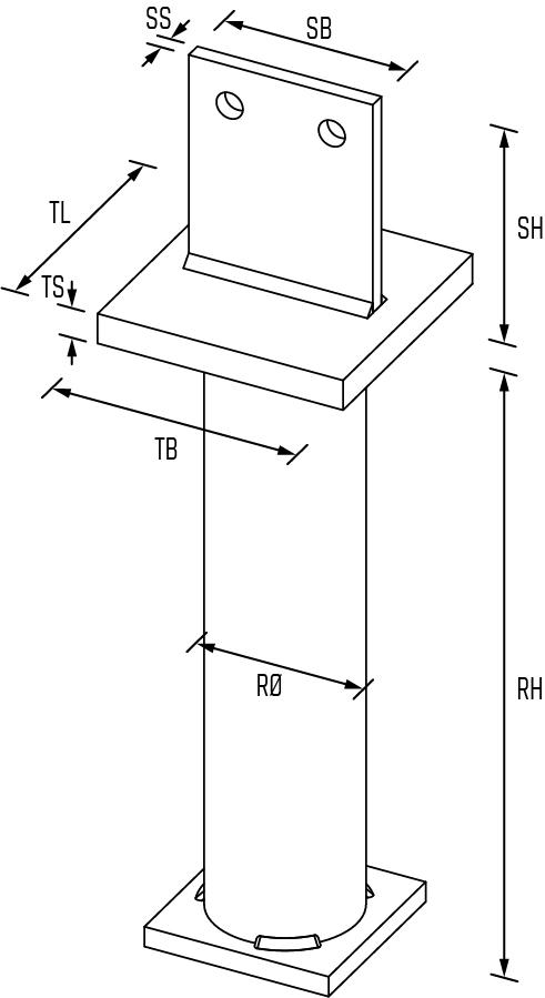 Pfostenträger Typ T02 in Beton_Zeichnung